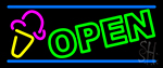 Green Open Ice Cream Cone Neon Sign