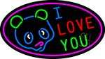 I Love You Bear Logo Neon Sign