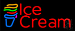Red Ice Cream Cone Neon Sign