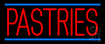 Red Pastries Blue Border Neon Sign