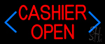 Blue Arrow Cashier Open Neon Sign