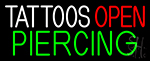 Blue Tattoo Piercing Open Neon Sign