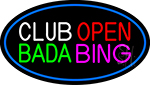 Club Open Bada Bing With Blue Border Neon Sign