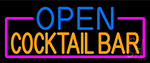 Open Cocktail Bar With Pink Border Neon Sign