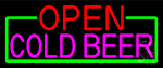 Open Cold Beer With Green Border Neon Sign
