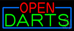 Open Darts With Blue Border Neon Sign