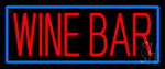 Red Wine Bar With Blue Border Neon Sign