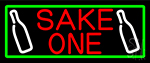 Sake One And Bottle With Green Border Neon Sign