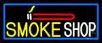Smoke Shop And Cigar With Blue Border Neon Sign