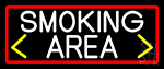 Smoking Area And Arrow With Red Border Neon Sign