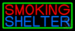 Smoking Shelter With Green Border Neon Sign