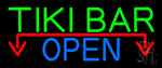 Tiki Bar Open With Arrow Neon Sign