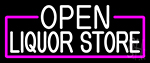 White Open Liquor Store With Pink Border Neon Sign