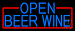 Blue Open Beer Wine With Red Border Neon Sign