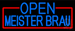 Blue Open Meister Brau Neon Sign