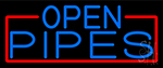 Blue Open Pipes With Red Border Neon Sign