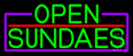 Green Open Sundaes With Purple Border Neon Sign