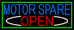 Motor Spare Open With Green Border Neon Sign