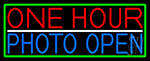 One Hour Photo Open With Green Border Neon Sign
