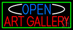 Open Art Gallery With Green Border Neon Sign