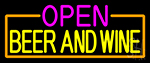 Open Beer And Wine With Orange Border Neon Sign