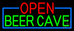 Open Beer Cave With Blue Border Neon Sign