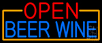 Open Beer Wine With Orange Border Neon Sign