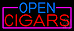 Open Cigars With Pink Border Neon Sign
