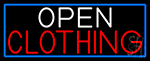 Open Clothing With Blue Border Neon Sign