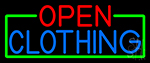 Open Clothing With Green Border Neon Sign
