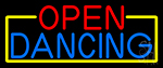 Open Dancing With Yellow Border Neon Sign