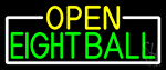 Open Eight Ball With White Border Neon Sign