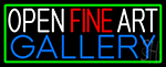Open Fine Art Gallery With Green Border Neon Sign