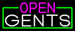 Open Gents With Green Border Neon Sign