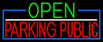 Open Parking Public With Blue Border Neon Sign