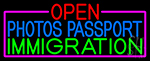 Open Photos Passport Immigration With Pink Border Neon Sign