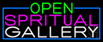 Open Spiritual Gallery With Blue Border Neon Sign