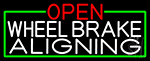 Open Wheel Brake Aligning With Green Border Neon Sign
