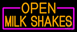 Orange Open Milk Shakes With Pink Border Neon Sign