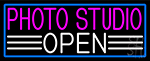 Photo Studio Open With Blue Border Neon Sign