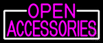 Pink Open Accessories With White Border Neon Sign