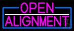 Pink Open Alignment With Blue Border Neon Sign