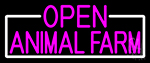 Pink Open Animal Farm With White Border Neon Sign