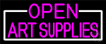 Pink Open Art Supplies With White Border Neon Sign