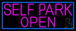 Pink Self Park Open With Blue Border Neon Sign