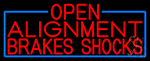 Red Open Alignment Brakes Shocks With Blue Border Neon Sign