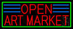 Red Open Art Market With Green Border Neon Sign