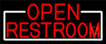 Red Open Restroom With White Border Neon Sign