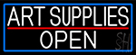 White Art Supplies Open With Blue Border Neon Sign