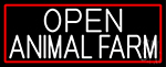 White Open Animal Farm With Red Border Neon Sign
